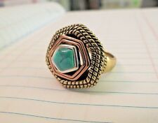 Turquoise Sterling Silver Ring Barse Copper Accents SZ 8 Blue Stone Modernistic