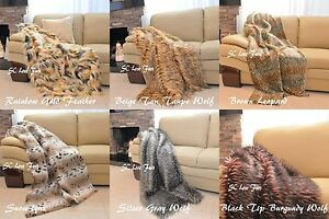 Luxurious Faux Fur Throws Wolf Coyote Leopard Lynx Animal Prints Furry Comforter