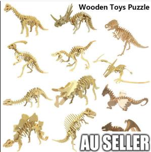 10Pcs 3D Wooden Puzzle Simulation Animal Fun Gift Dinosaur Assembly DIY Model