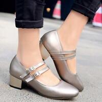 Womens square toe Block heels Buckle casual party pumps Shoes plus size