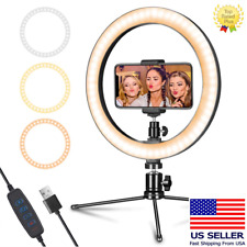 "10"" Selfie LED Ring Light with Tripod Stand Phone Holder For Live Stream/Makeup"