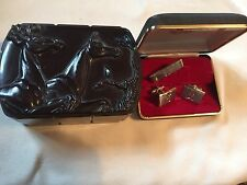 Hickok Horse & Stag Vintage Bakelite Jewelry Cigarette Trinket Box Plus H Set