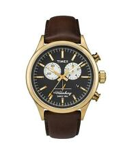 Orologio Uomo TIMEX The WATERBURY TW2P75300 Chrono Pelle Marrone Gold Dorato
