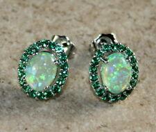 SILVER Elegant Green Fire Opal & Green Peridot Oval Stud Earrings Woman Gift