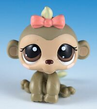 Littlest Pet Shop Monkey #1593 Light Brown & Tan With Brown Eyes Pink Bow