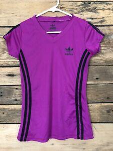 Womens adidas v neck athletic top Sz S purple short sleeve