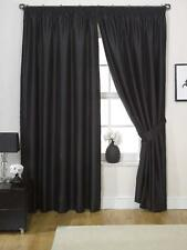 "Pair of Black 90"" Width X 72"" Drop Luxury Faux Silk Eyelet Curtains Including P"