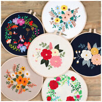 Embroidery Starter Kit with Pattern Folk Floral Cross Stitch Hoop art