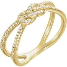 14K Yellow Gold 1/5 CTW Diamond Love Knot Double Band Ring Size 7