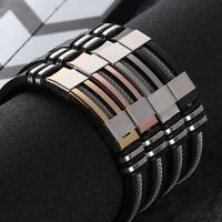 JN_ Cool Men Titanium Steel Hand Chain Handmade Bracelet Bangle Club Jewelry G