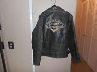 "Harley-Davidson Men's Vintage ""Victory"" Black Leather Jacket Large Rare & HTF"