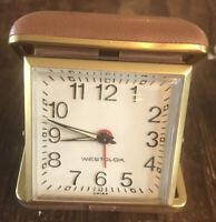 Vintage Westclox Travel Alarm Clock Brown Leather Case Works! Retro