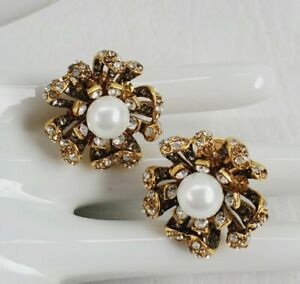 Jose & Maria Barrera Stunning Faux pearl crystal Flower Earrings