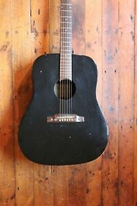 ∞ Players Vintage 1960's Eko Ranger VI Acoustic Guitar + Gloss Black + Top Mojo