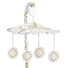 Sweet Jojo Designs Musical Mobile For Gold & White Trellis Baby Crib Bedding Set