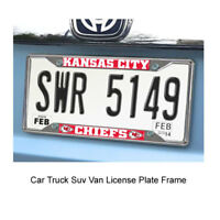 New FANMATS NFL Kansas City Chiefs Car Truck Chrome Metal License Plate Frame