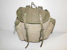 Vintage Army Green Military Canvas Backpack with Authentic Wear ~looks cool~