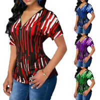 Plus Size Women Zipper V-Neck T-Shirt Summer Casual Short Sleeve Tops Tee Blouse