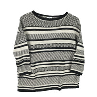 J.Jill Women Sweater Size S Multicolor Striped Linen Blend 3/4 Sleeve CableKnit