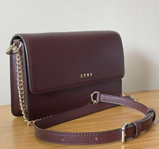 DKNY Burgundy Leather Small Flap Shoulder Bag / Crossbody Bag