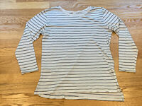 BP White Black Striped Long Sleeve Cotton Scoop Neck Knit Slit Tee Shirt Size XS
