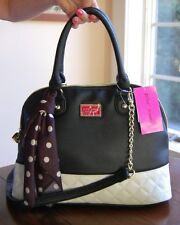 NWT Betsey Johnson Quilted Polka Dot Scarf Dome Satchel Bone Black