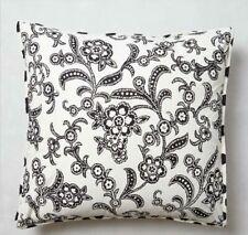 Anthropologie Monochrome Bloom Pillow Shams Euro Black White Cotton Set of 2