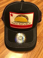 Taco Republic Black Cap Trucker Hat SnapBack New with Tags