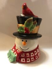 Fitz and Floyd Holly Berry Snowman Ceramic Christmas Lidded Box New in Box