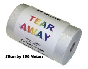 Starlite Tear Away Embroidery Backing Paper Stabilizer, 30cm Wide FREE UK POST