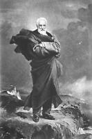 VICTOR HUGO Full Figure Standing on Rock Island of Jersey - Victorian Era Print