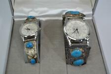 Pair of Sterling Silver Platina Liberty Quartz Watch Set Turquoise Stones #OF-07