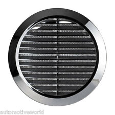 "Chrome Circle Air Vent Grille 100mm 4"" Silver Round Wall Ventilation Cover T30M"