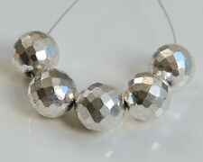 AAA Sparkle Silver Pyrite Faceted Round Ball Beads 8mm