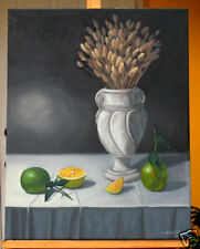 Lemon, Wheat, Classical Still Life, Original Oil Painting, Signed, Wall Art Deco