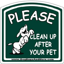Green Thick Aluminum Please Clean up After Your Pet Sign, Dog Poop Signage #34