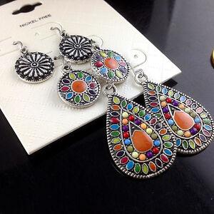 3Pairs/Lot Bohemian Boho Colorful Resin Bead Waterdrop Tassel Women Earrings