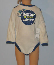 New OLD NAVY Boys Size 18-24 Months White Blue Long Sleeve Bodysuit~Romper