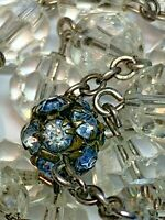 "† VINTAGE STERLING BLUE RONDELLE PATERS & CRYSTAL ROSARY ROSARIO 30"" NECKLACE †"