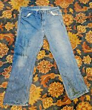 New listing Vtg 1960's Denim Jeans 35x30 Distress Wear Western Usa Western cowboy Grunge