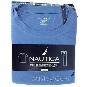 NWT Nautica Men's Pajama Sleepwear Set Short Sleeve Crew Tee & Knit Fleece Pant