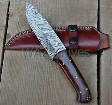 HANDMADE DAMASCUS HUNTING KNIFE W ROSE WOOD HANDLE & LEATHER SHEATH WK-19