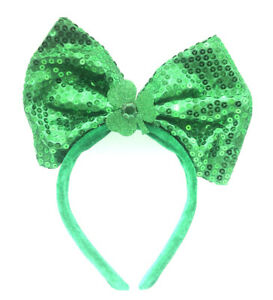 St. Patrick's Day Sequined Fabric Bow Headband Hat St. Patricks Day Costume