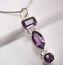 Purple Amethyst Triple-Gem 925 Sterling Silver Pendant Corona Sun Jewelry