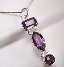 Purple Amethyst Triple-Gem 925 Sterling Silver Pendant Corona Sun Jewelry