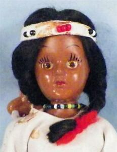 Vintage Native American Indian Squaw Doll with Papoose Hard Plastic #1