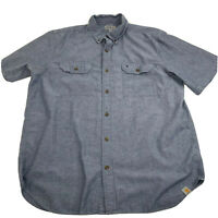 Carhartt Mens Shirt Size XL Denim Chambray Short Sleeve Woven Casual Button Down
