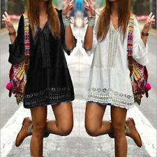 8-20 Women V Neck Flare Sleeve Sundress Casual Solid Boho Beach Mini Shirt Dress