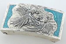 Inlay Fighting Eagles Belt Buckle Vintage Mms Mexico Sterling Silver Turquoise
