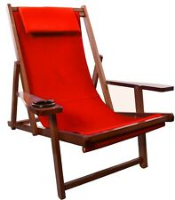 Wooden Folding Sling Chair With Pillow & Cup Holder (Red) Adjustable Recline